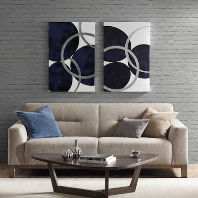 "Porch & Den ""Celestial Orbit"" Navy Gel Coated and Silver Foil Canvas 2-piece Set"