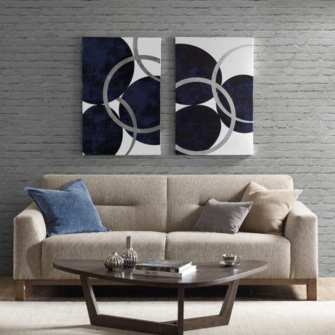 "Porch & Den ""Celestial Orbit"" Navy Gel Coated and Silver Foil Canvas 2-piece Set"