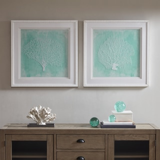 Harbor House Embroidered Coral Aqua Framed On Printed Background with White Solid Wood Frame 2PC Set