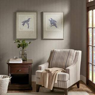 Harbor House Embroidered Birds Blue Framed On Printed Background with Natural Tone Solid Wood Frame 2PC Set