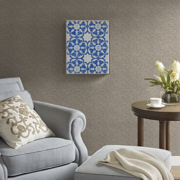 Harbor House Mosaic Tile Floral Blue Crushed Glass
