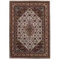 eCarpetGallery Hand-Tufted Timeless Brown, Ivory  Wool Rug (5'3 x 7'6)