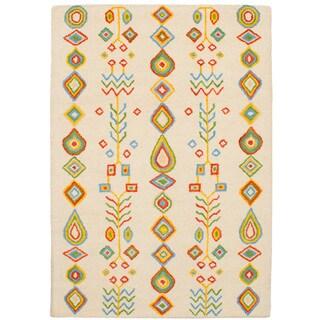 eCarpetGallery Hand-Tufted Oriental Gabbeh Ivory Wool Rug (5'4 x 7'6)