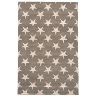 eCarpetGallery Hand-Tufted Abstract Art Grey Wool, Art Silk Rug (5'0 x 8'0)