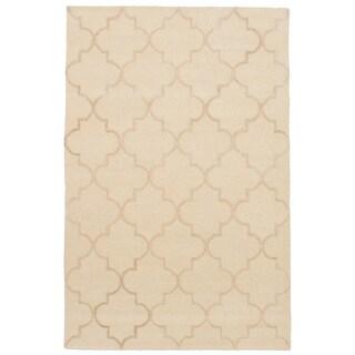 eCarpetGallery Hand-Tufted Trellis Ivory Wool, Art Silk Rug (5'0 x 8'0)