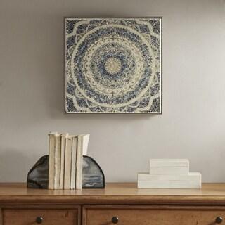 Harbor House Mosaic Mandala Waves White/ Blue Crushed Glass