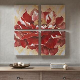 Madison Park Romanza Red Hand Embellishment Canvas 4PC Set