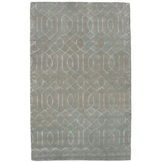 eCarpetGallery Hand-Tufted Trellis Grey Wool, Art Silk Rug (5'0 x 8'0)
