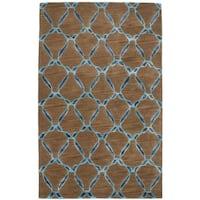eCarpetGallery Hand-Tufted Trellis Brown  Wool,  Art Silk Rug (5'0 x 8'0)