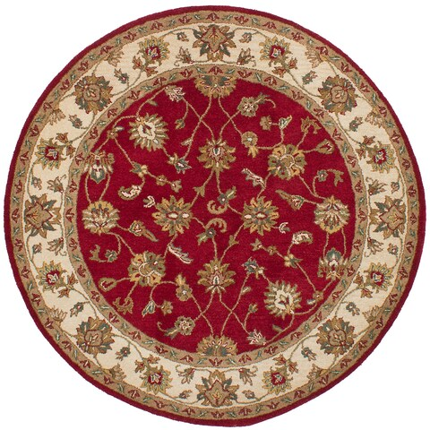 ECARPETGALLERY Hand Tufted Manchester Red Wool Rug - 6'2 x 6'2