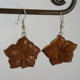 Handmade Carved Wood Hibiscus Earrings by Spirit Tribal Fusion (Indonesia)