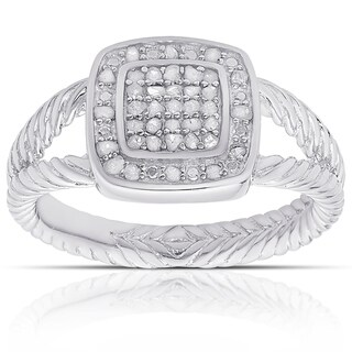 Finesque Sterling Silver 1/4ct Tw Diamond Square Design Ring