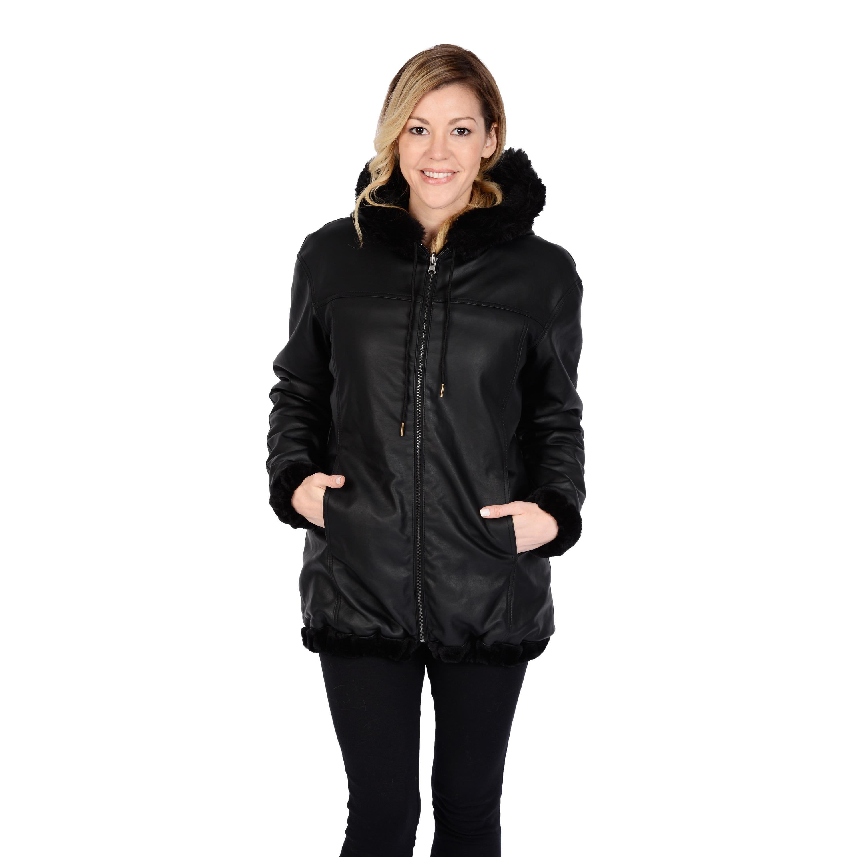Excelled Women's Reversible Car Coat (As Is Item) (Black-...
