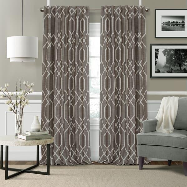 Elrene Devin Geometric Room Darkening Curtains On Sale Overstock 19756158 52 W X 95 L Taupe