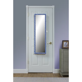 Blue Pattern Over the Door Jewelry Armoire Mirror - Blue/Antique White
