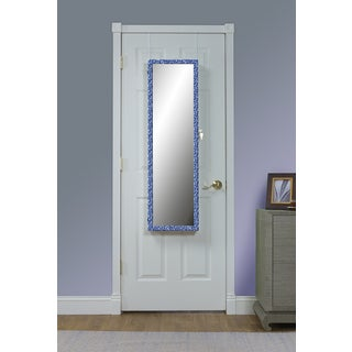 Blue Pattern Mirrored Over the Door Jewelry Armoire - Blue/Antique White