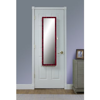 Red Over the Door Jewelry Armoire Mirror