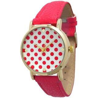 Olivia Pratt Women's Polka Dot Leather Strap Band (Option: Pink)