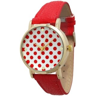 Olivia Pratt Women's Polka Dot Leather Strap Band (Option: Red)