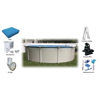 "Bali 24' Round 52"" Steel Wall Above Ground Pool Essential Package"
