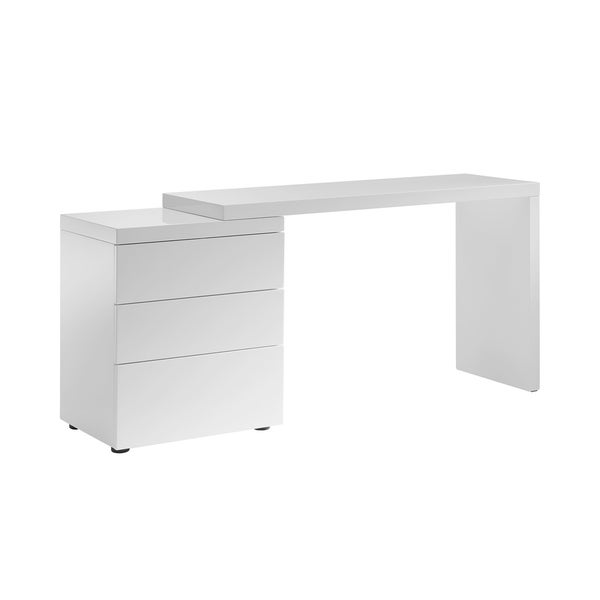 Astonishing Shop Nest High Gloss White Lacquer Extendable Office Desk By Interior Design Ideas Inesswwsoteloinfo