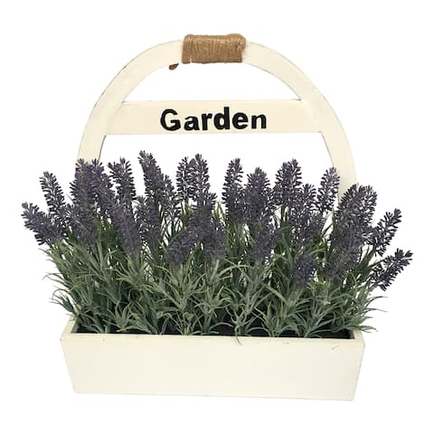 "16.5"" LAVENDER WOODEN POT"