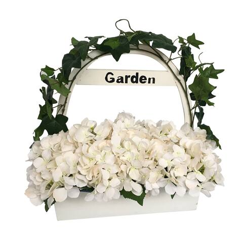 "16.5"" HYDRANGEA WITH WOODEN POT - White"