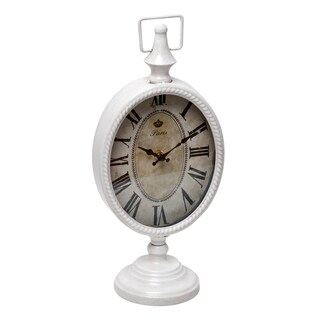 WHITE METAL TABLE CLOCK