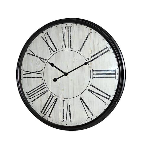 GREY METAL ROUND WALL CLOCK