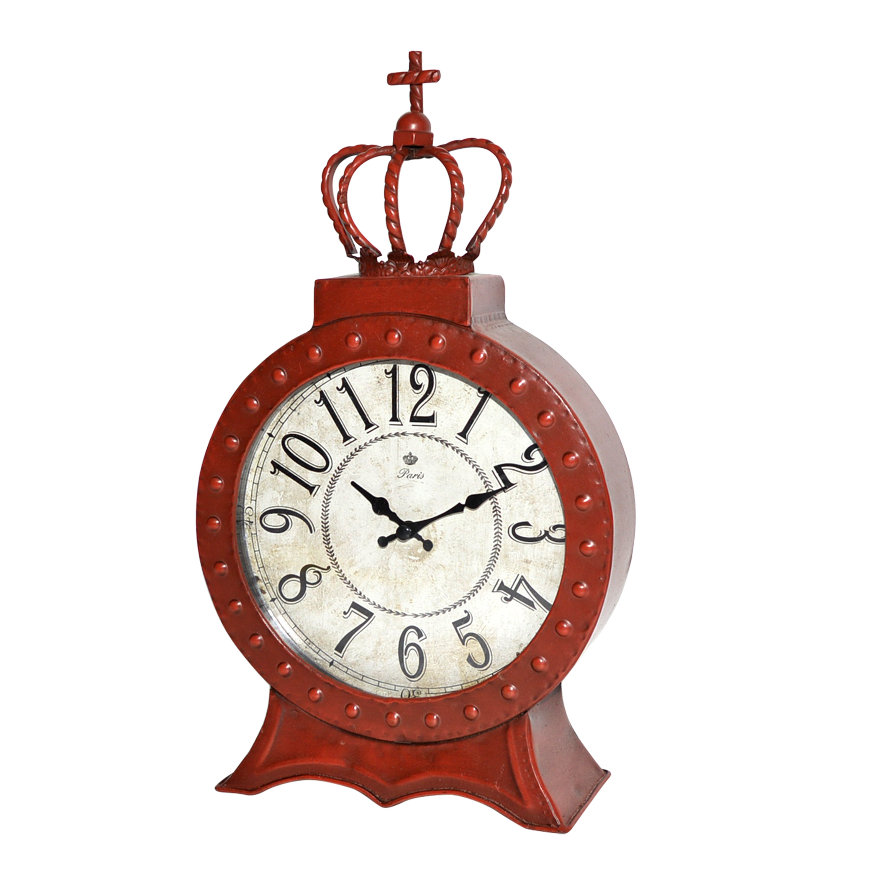 Jeco Red Metal Table Clock (8IN Red Mtl Table Clock)