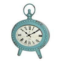 BLUE OVAL METAL TABLE CLOCK