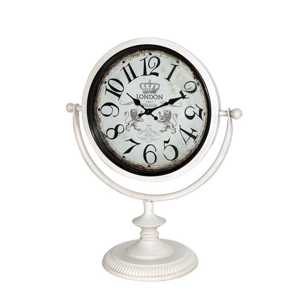 OFF WHITE METAL TABLE CLOCK