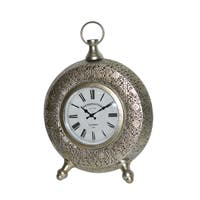 SILVER METAL TABLE CLOCK