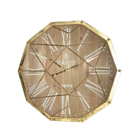 GOLD METAL DECAGON WALL CLOCK