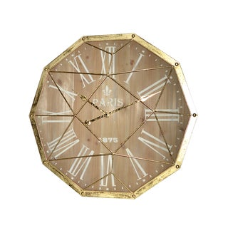 GOLD METAL DECAGON WALL CLOCK
