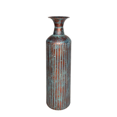 "23.75"" COPPER/BLUE METAL VASE"