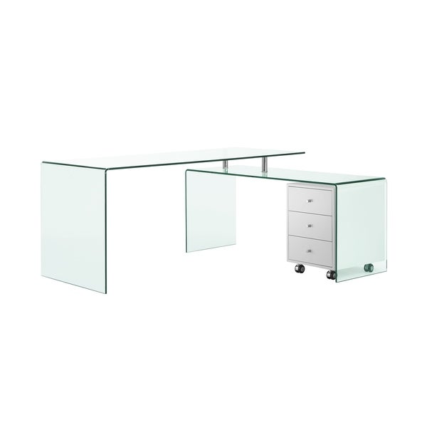 Fine Shop Rio High Gloss White Lacquer W Glass Office Desk By Download Free Architecture Designs Intelgarnamadebymaigaardcom