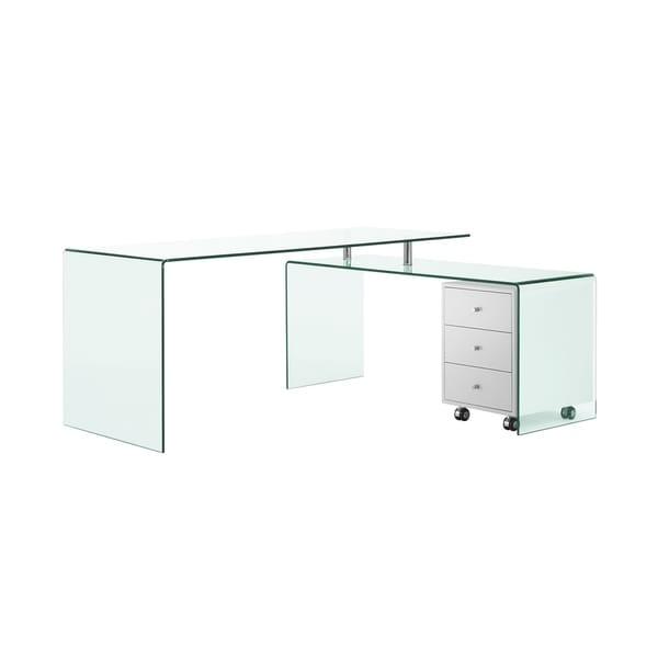 Magnificent Shop Rio High Gloss White Lacquer W Glass Office Desk By Interior Design Ideas Inesswwsoteloinfo