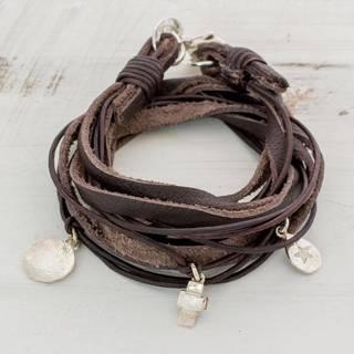 Handmade Silver Leather 'Stellar Imprint' Bracelet (Guatemala)