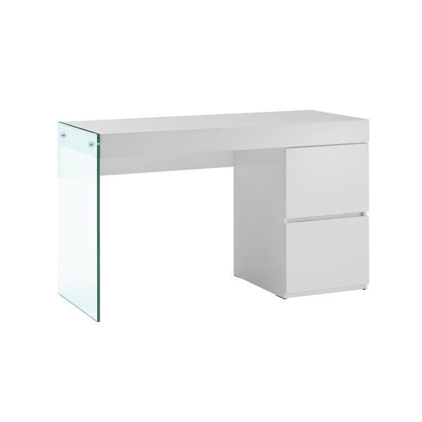Il Vetro High Gloss White Lacquer Office Desk By Casabianca Home