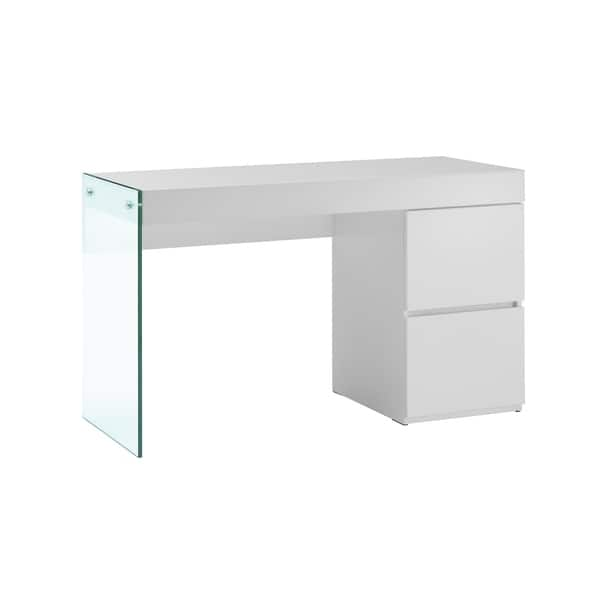 IL VETRO High Gloss White Lacquer Office Desk by Casabianca Home