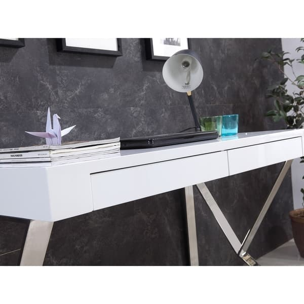 YORK High Gloss White Lacquer Office Desk by Casabianca Home