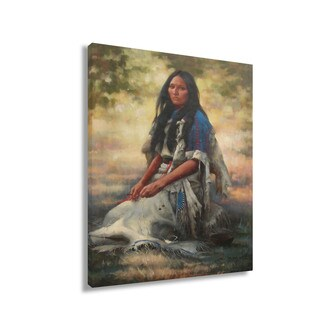 """A beautiful native indian woman, original hand painted oil-on-canvas artwork 24""""x36"""""""