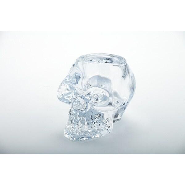Glass Skull Candleholder