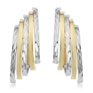 Fremada Italian 14k Two-tone Gold Diamond-cut Five Row Hoop Earrings