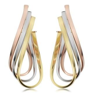 Fremada Italian 14k Tricolor Gold Triple Oval Hoop Earrings