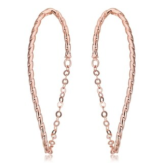 Fremada Italian 14k Rose Gold Chain Twisted Oval Earrings