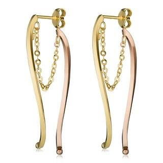 Fremada Italian 14k Two-tone Gold Curved Bar Front Back Earrings