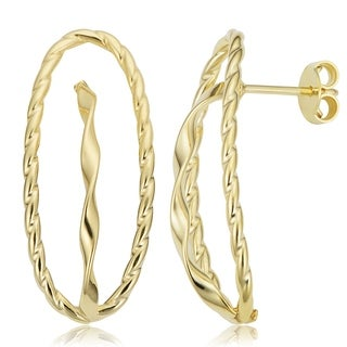 Fremada Italian 14k Yellow Gold Twisted Oval Earrings