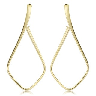 Fremada Italian 14k Yellow Gold Twist Open Hoop Earrings